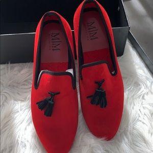 Men red new velvet shoes
